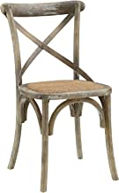 Modway Gear Rustic Farmhouse Elm Wood Rattan Kitchen and Dining Room Chair in Gray - Fully Assembled