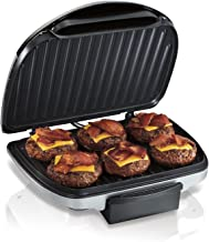 Hamilton Beach Electric Indoor Grill, 6-Serving, Nonstick Easy Clean Plates, Silver (25371)