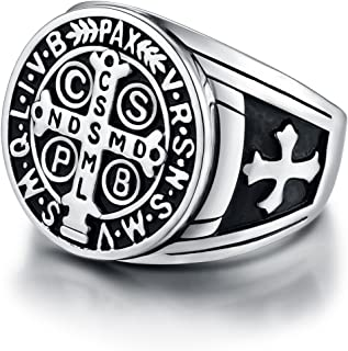 Men's St Benedict Exorcism Ring Stainless Steel Solid Heavy Rings Catholic Roman Cross Demon Protection Ghost Hunter