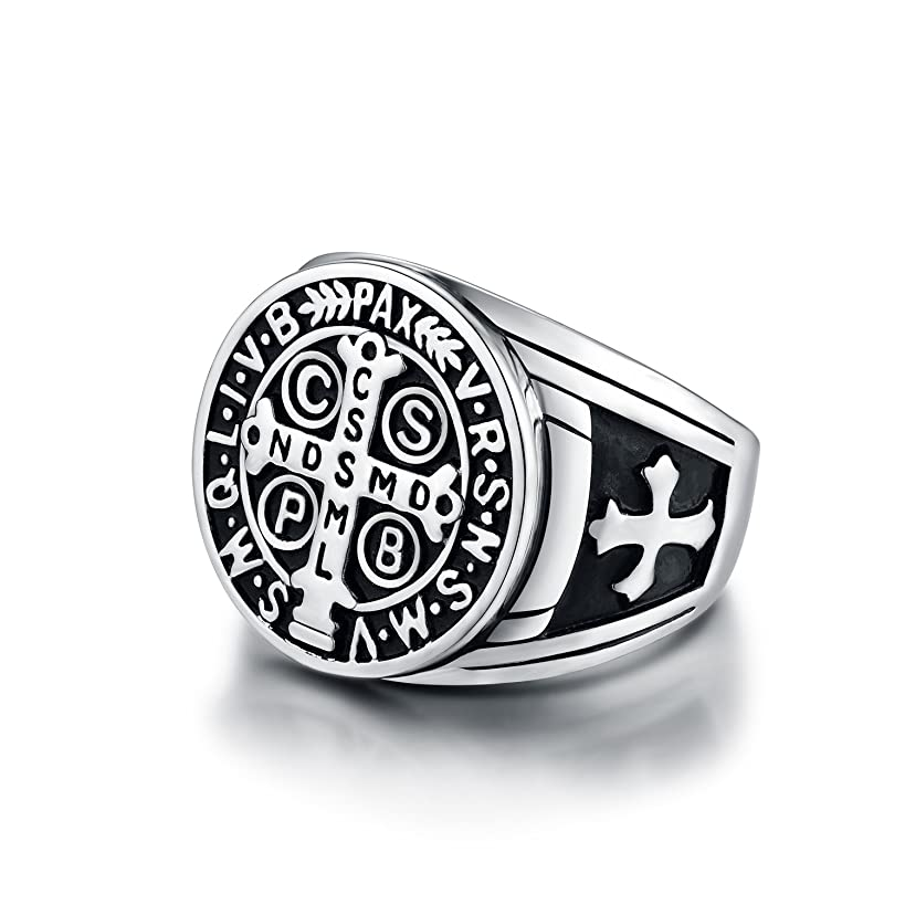 LAOYOU Men's St Benedict Exorcism Ring Stainless Steel Solid Heavy Rings Catholic Roman Cross Demon Protection Ghost Hunter