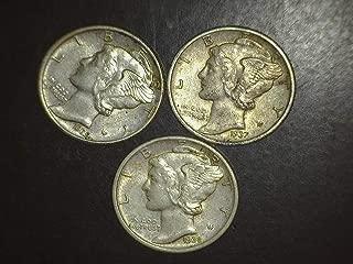 1936 1937 1939 Mercury Dimes - Set of 3 Coins - 10c AU/BU US Mint