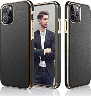 LOHASIC Designed for iPhone 12 Pro Max Case, Luxury Leather Business Premium Classic Cover Non Slip Soft Grip Flexible Shockproof Cases Compatible with iPhone 12 Pro Max 5G 6.7 inch - Black