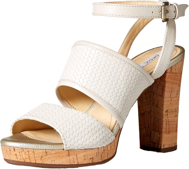 Geox Woherren MAUVELLE 6 Heeled Sandal, Off Weiß, 35 M EU (5 US)