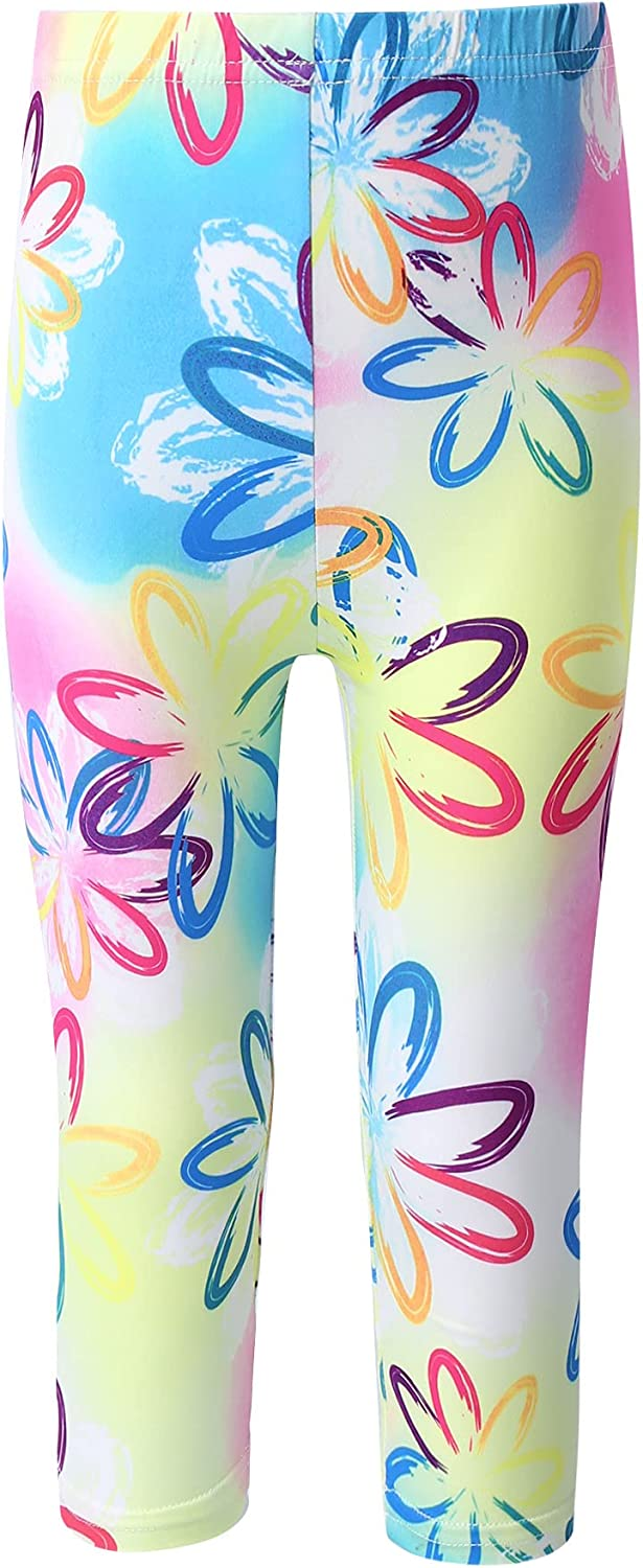 winying Kids Girls Printing Flower Pattern Stretch Leggings Kids Ankle Length Pants Tights Colorful 4-5