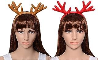 CHICHIC Set of 2 Christmas Reindeer Antlers Headbands Kids Head Band Christmas Reindeer Hats Reindeers Deer Hairband Chris...