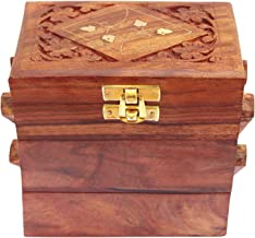 GD Handmade Wooden 3 Compartment Slide Open Box Multipurpose Storage Box, Earring Box, Jewelry Organizer Box Storage Vintage Box, Trinket Box, Decorative Jewelry Box Women Jewel Organizer Gift Items