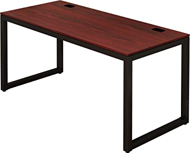 SHW Home Office 55-Inch Large Computer Desk, Black/Cherry