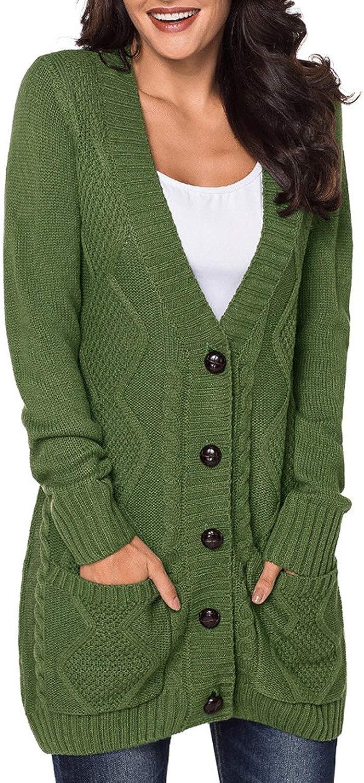 comprar nuevo barato Shiduoli Botón con Cuello en V para Mujer Mujer Mujer Cable de Bolsillo Knit Cochedigan Manga Larga (Color   verde, Talla   XL)  orden ahora disfrutar de gran descuento