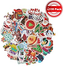JIATECCO 135 Pcs Stickers Pack Variety - Christmas Style Decorations, Vinyl Decals DIY - for Laptop Skateboard Car Luggage Motorcycle Bicycle Graffiti Computer Keyboard
