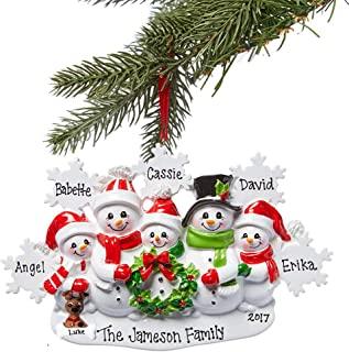Personalized Family with Dog Snowman Christmas Ornament 2018 Family of 2 3 4 or 5 with Dogs