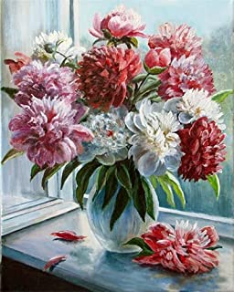 DIY Oil Painting kit, Paint by Numbers kit for Kids and Adults - Flowers 16x20 inches E794
