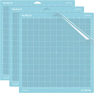 Monicut 12x12 Lightgrip Cutting Mat for Cricut Explore One/Air/Air 2/Maker(3 Pack) Adhesive&Sticky Non-Slip Flexible Square Gridded Blue Cut Mat Replacement for Crafts, Quilting, Sewing and All Arts