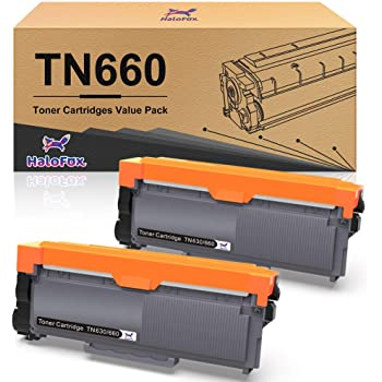 HaloFox Compatible Toner Cartridge Replacement for Brother TN660 TN630 DCP-2560DN MFC-L2707DW MFC-L2700DW HL-L2380DW DCP-L2540DW HL2340DW MFC-L2740DW MFC-L2685DW HL-L2300D Printer (2 Black)