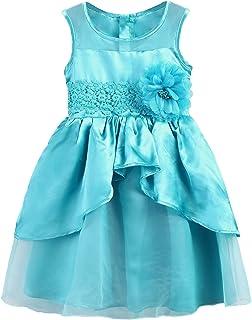 Girls Dress Kids Ruffles Lace Costume Pageant Princess Party Wedding Tutu Dress - Blue - 6-7 Years