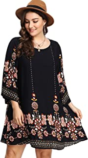 Romwe Women's Boho Bohemian Tribal Print Summer Beach Dress