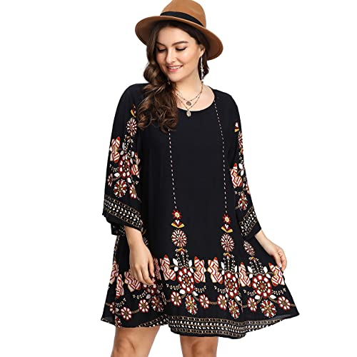 19a35cdda562c Romwe Women s Boho Bohemian Tribal Print Summer Beach Dress