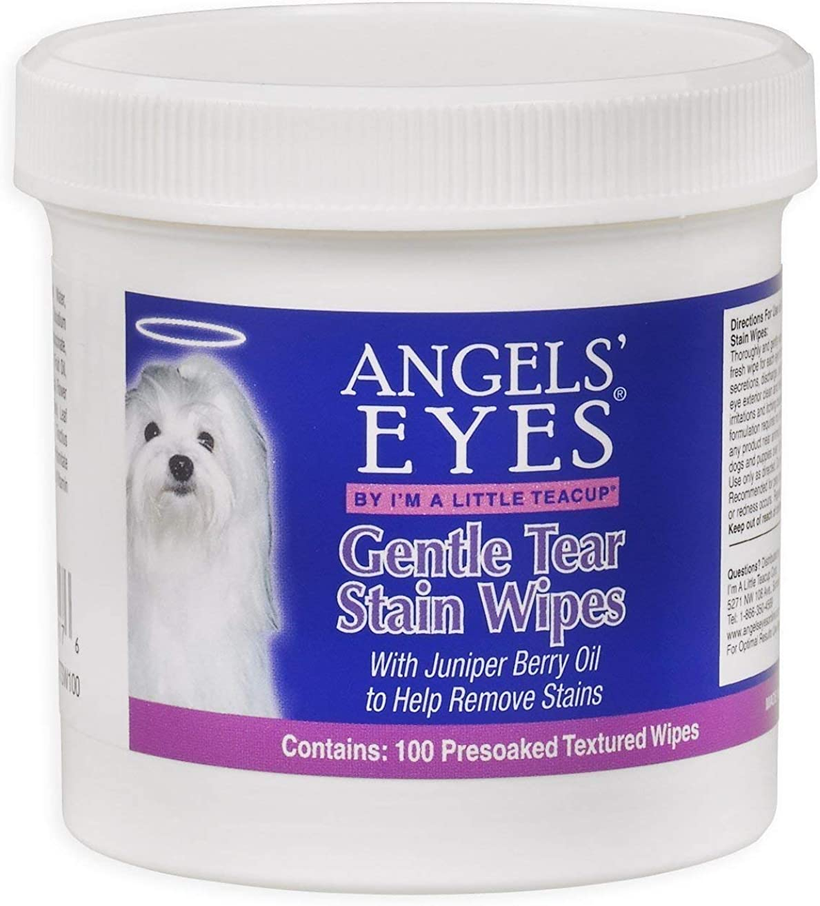 Angels' Eyes Gentle Remove Dried Mucus secretions, Discharge, and Tear Stains Wipes for Dogs, 100 Count