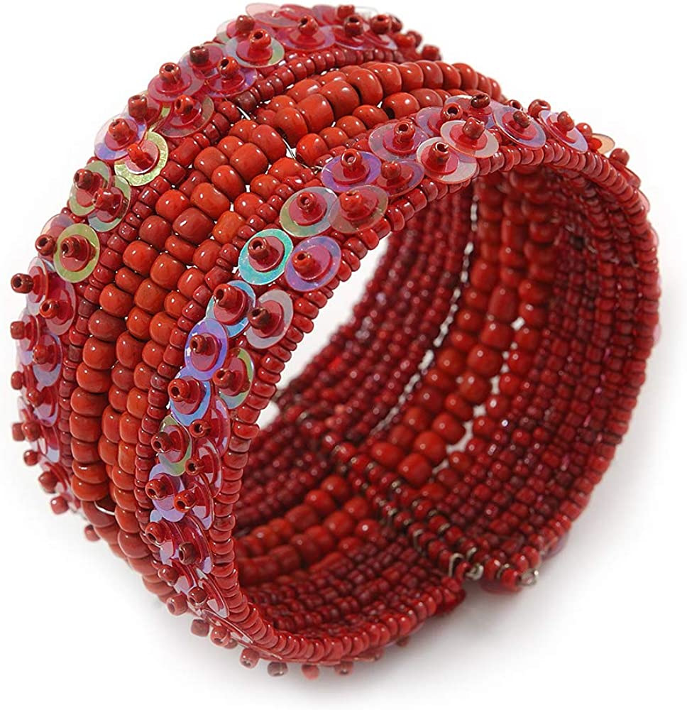 Avalaya Bohemian Beaded Cuff Bangle with Sequin (Red) - Adjustable