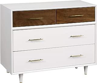 Babyletto Eero 4-Drawer Assembled Dresser, White/Natural Walnut