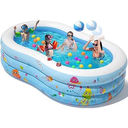 Peradix Piscina Gonfiabileo, 240 * 150 * 60 cm 3 Strati Addensati Grande Piscine d'Acqua per Bambini, Fuori Giardino Piscina per Bambini Adult con Palline gonfiabili e 2 portabicchieri