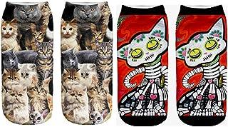 Calcetines Tobilleros 3D Harajuku Style Girl 3D Print Animal Cat Mujeres Calcetines Calcetines Casuales De Dibujos Animados Calcetines Tobilleros De Corte Bajo Unisex