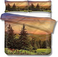 Mademai Twin Size Duvet Cover Set Forest,Fir Trees Pines Spruce Hills Decorative 3 Piece Bedding Set with 2 Pillow Covers