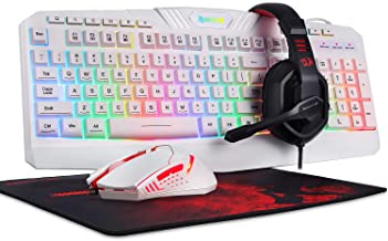 Redragon S101 Wired RGB Backlit Gaming Keyboard and Mouse, Gaming Mouse Pad, Gaming Headset Combo All in ONE PC Gamer Bundle for Windows PC – (White)