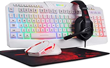 Redragon S101 Wired RGB Backlit Gaming Keyboard and Mouse, Gaming Mouse Pad, Gaming Headset Combo All in ONE PC Gamer Bundle for Windows PC – [White]