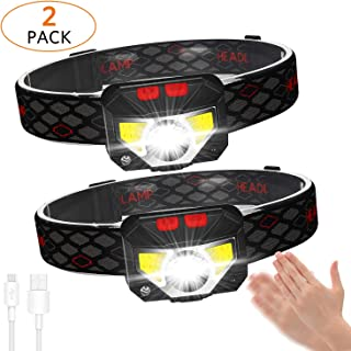 2-Pack LED Rechargeable Headlamp Flashlight,USB Head Torch 800 Lumens Motion Sensor Head Lamp, IPX45 Waterproof, Super Bright Cree Led & Red Light,COB Headlight, Best for Running,Camping,Hiking