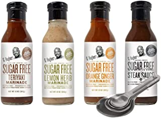 [Free Measuring Spoon Set] G Hughes Sugar Free Marinades Variety Pack (Teriyaki, Orange Ginger, Steak Sauce, Lemon Herb) -...