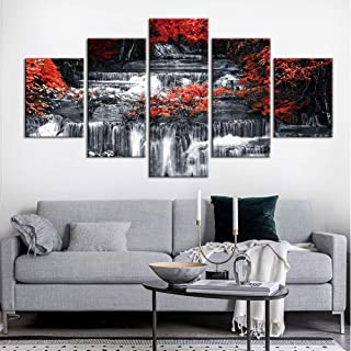 HGFHGD Canvas 5 Board Painting Waterfall Nature Painting Black and White Landscape Poster Canvas Oil Painting Wall Painter...