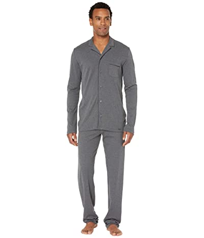 Hanro Night Day Long Sleeve Long Pajama Set (Medium Melange) Men