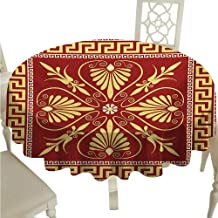 Greek Key Round Polyester Tablecloth Old Fashioned Frame Design with The Greek Labyrinth and Curly Leaves Flowers Waterproof/Oil-Proof/Spill-Proof Tabletop Protector D70 Ruby Yellow
