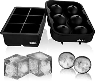 Large Ice Cube Trays Silicone Set of 2, Easy Pop Release Reusable BPA Free Silicone Ice Cube Molds Square & Sphere Round I...