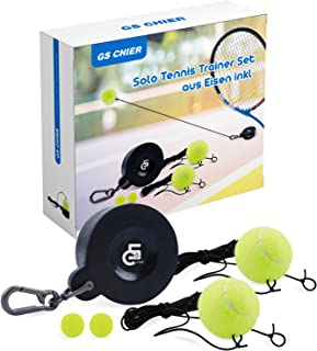 Tennis Trainer Rebound Ball Portable Training Tool for Solo/Self at Home Hitting Workout, Drills, Practice, Coaching – Pro Rebounder Set with Iron Base, Balls, Rope String Tether