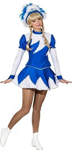 O9889 blau-Weiß Damen de Luxe Mariechenkostüm