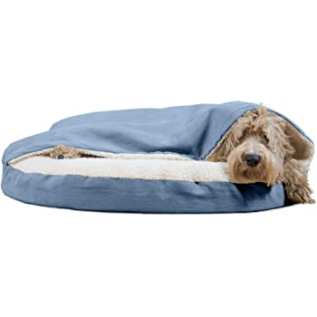 Furhaven Pet - Plush Ergonomic Contour Orthopedic Foam Mattress Dog Bed and Round Snuggery Hooded Dog Blanket Bed for Dogs and Cats - Multiple Styles, Sizes, and Colors