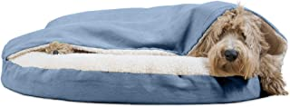 """Furhaven Pet Dog Bed   Orthopedic Round Faux Sheepskin Snuggery Burrow Pet Bed for Dogs & Cats, Blue, 35"""""""