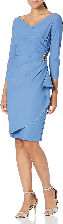 Vintage Evening Dresses, Vintage Formal Dresses Alex Evenings Womens Slimming Short Sheath 3/4 Sleeve Dress with Surplus Neckline  AT vintagedancer.com