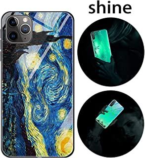 Leton-US iPhone 11 Pro Max Case Silicone Luminous Noctilucent 9H Tempered Glass Back Cover Soft Slim TPU Bumper Shockproof Phone Case Cover for iPhone 11 Pro Max Glow in Dark Starry Night