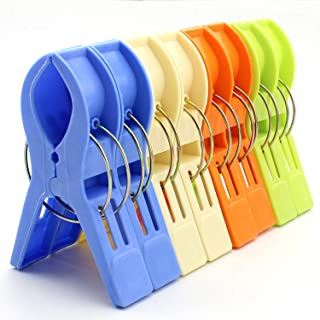 WARMBUY Set of 8 Beach Bath Towel Clips in 4 Fun Bright Colors for Beach Chair or Pool Loungers on Your Cruise - Keep Your Towels from Blowing Away