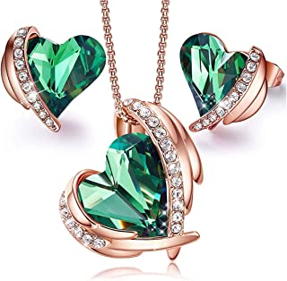 KKX Jewellery Sets for Women Heart Pendant Necklace and Earrings Set Embellished with Crystals from Swarovski with Jewelry...