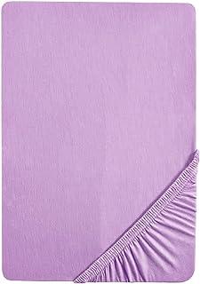Biberna 77155/332/040 Drap Housse en Jersey Stretch pour un Lit Simple Violet 90 x 190 cm à 100 x 200 cm