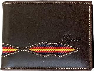 Cartera de Hombre Legado Vox Marrón Piel tratada Bandera Inferior Regalo de Pulsera España y Tarjeta de protección Bloqueo RFID (Marrón Horizontal Vox sin Broche)