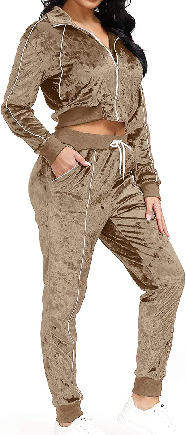 2 Piece Tracksuits for Women - Stretchy Long Sleeve Ruched Pullover Top + Drawstring Sweatpants Sport Jogger Outfits Sets