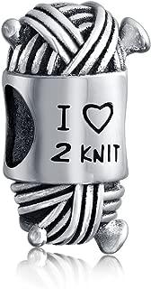 I Love Too Knit Ball Spool Of Yarn Kitting Knitter Bead Charm For Women For Teen Sterling Silver For European Bracelet
