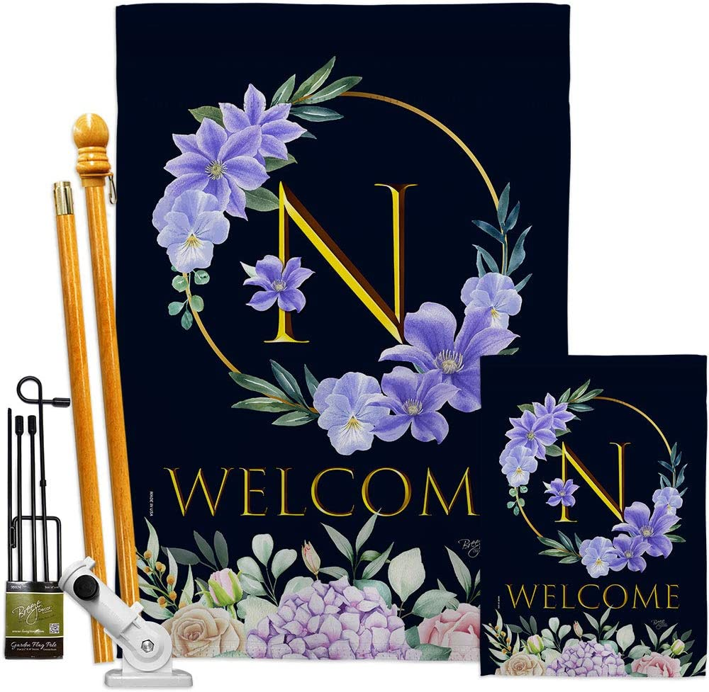 Floral Welcome N Initial Garden Kit Monogram Spring Flags House Super beauty product Superior restock quality top