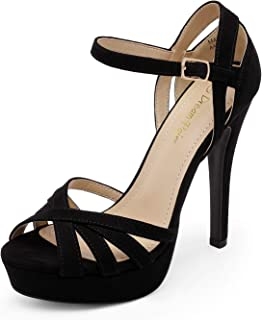 DREAM PAIRS Women's Ankle Strap Open Toe High Stiletto Platform Dress Pump Heel Sandals