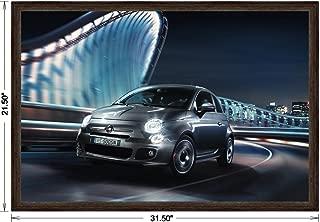 Fiat 500S (2013) Framed Car Art Poster Print Black Front Side Motion View in Dark Walnut Frame, No Mat 20