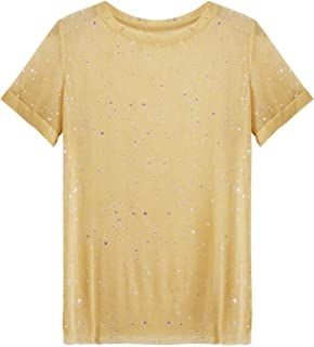 WDIRARA Women's Glitter Sheer See Through Short Sleeve Mesh Top Tee Blouse